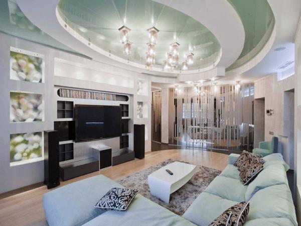 Натяжной потолок в гостиной многоуровневый