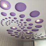 Перфорированный натяжной потолок со светильниками