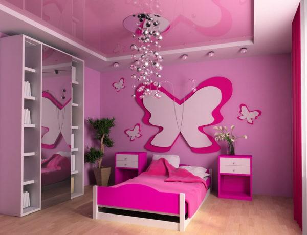 натяжной потолок в детской комнате для девочки